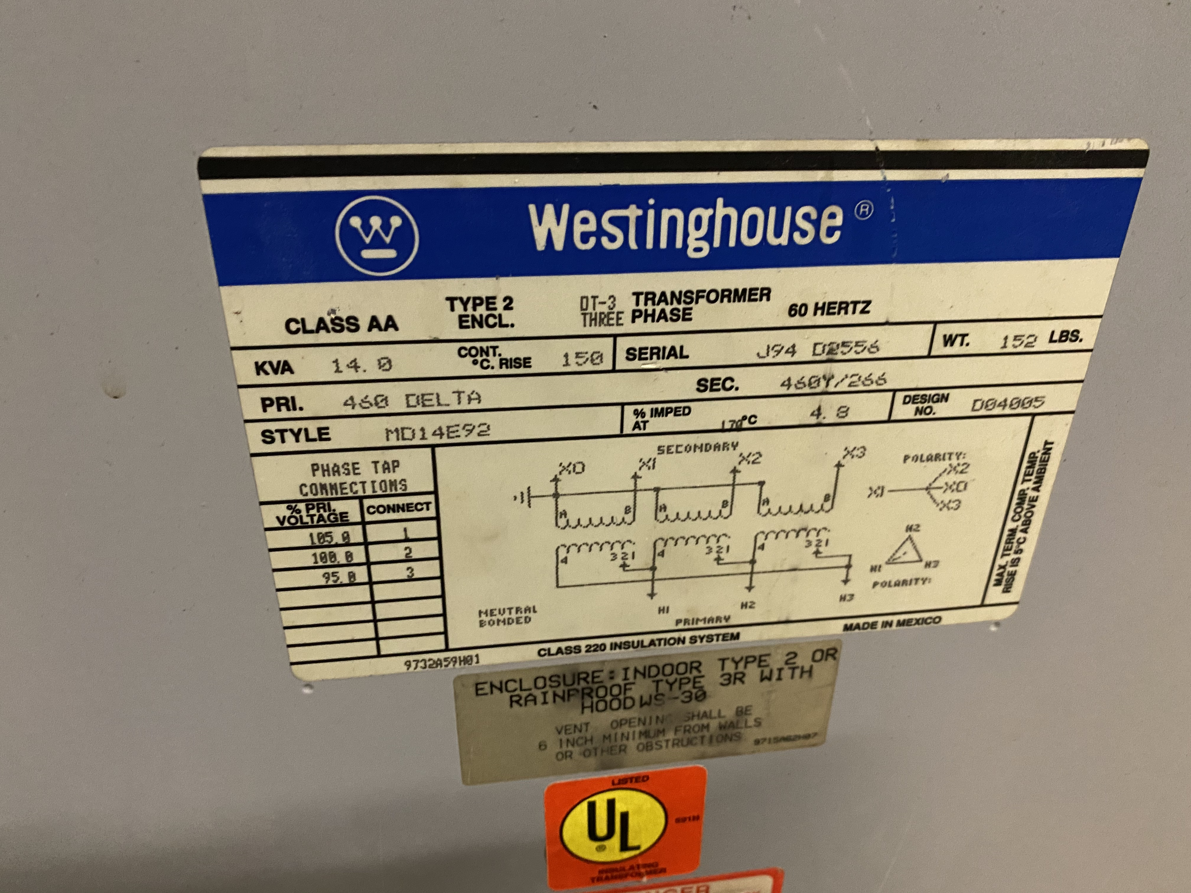 Lot 6 - Westinghouse 14 KVA Transformer