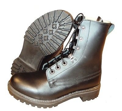 Lot 44 - 10 x Black Leather ASSAULT BOOTS - Size UK 6 Small - Brand NEW