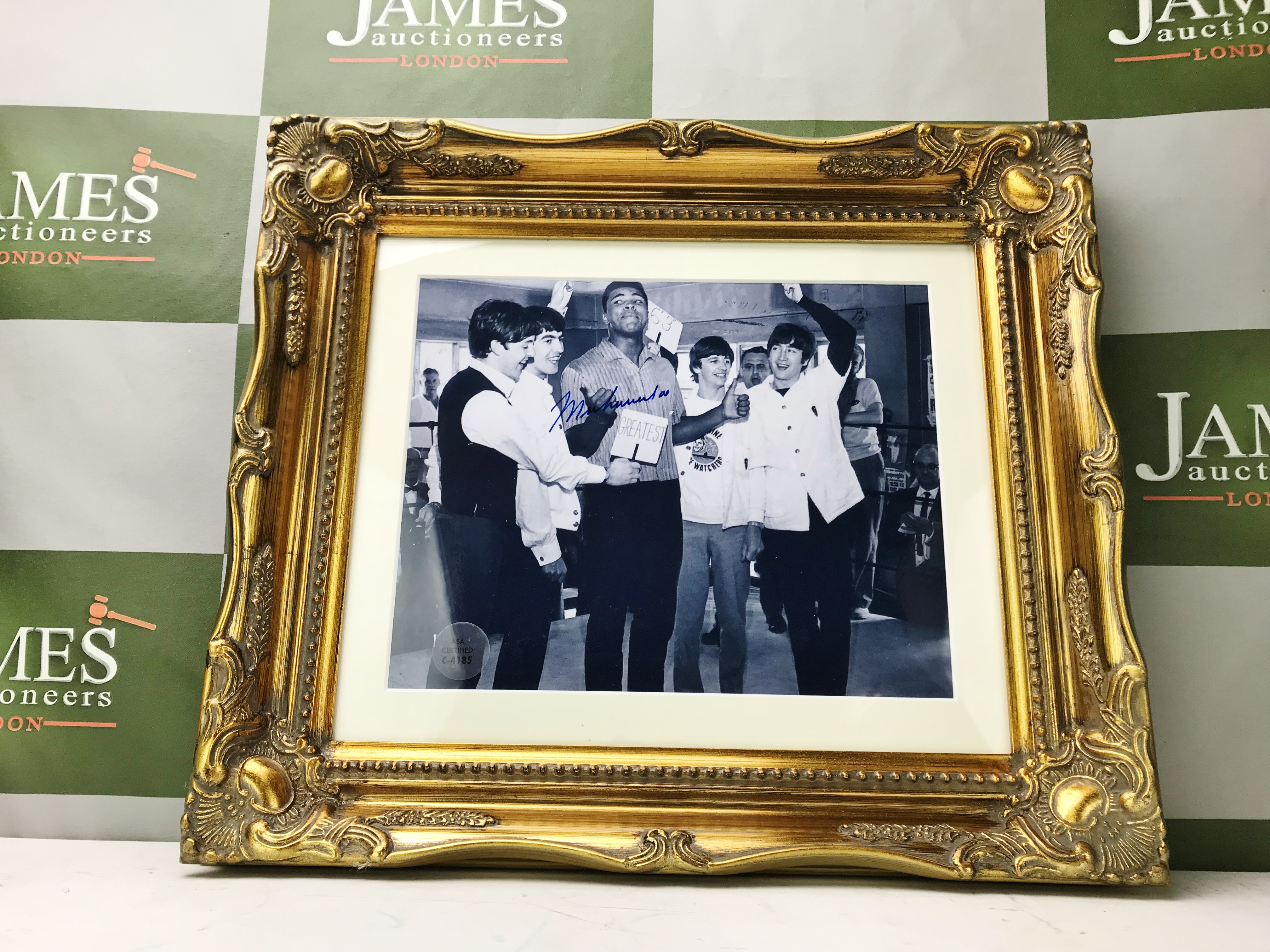Lot 59 - Muhammad Ali & The Beatles Signed Montage -Ornate Framed