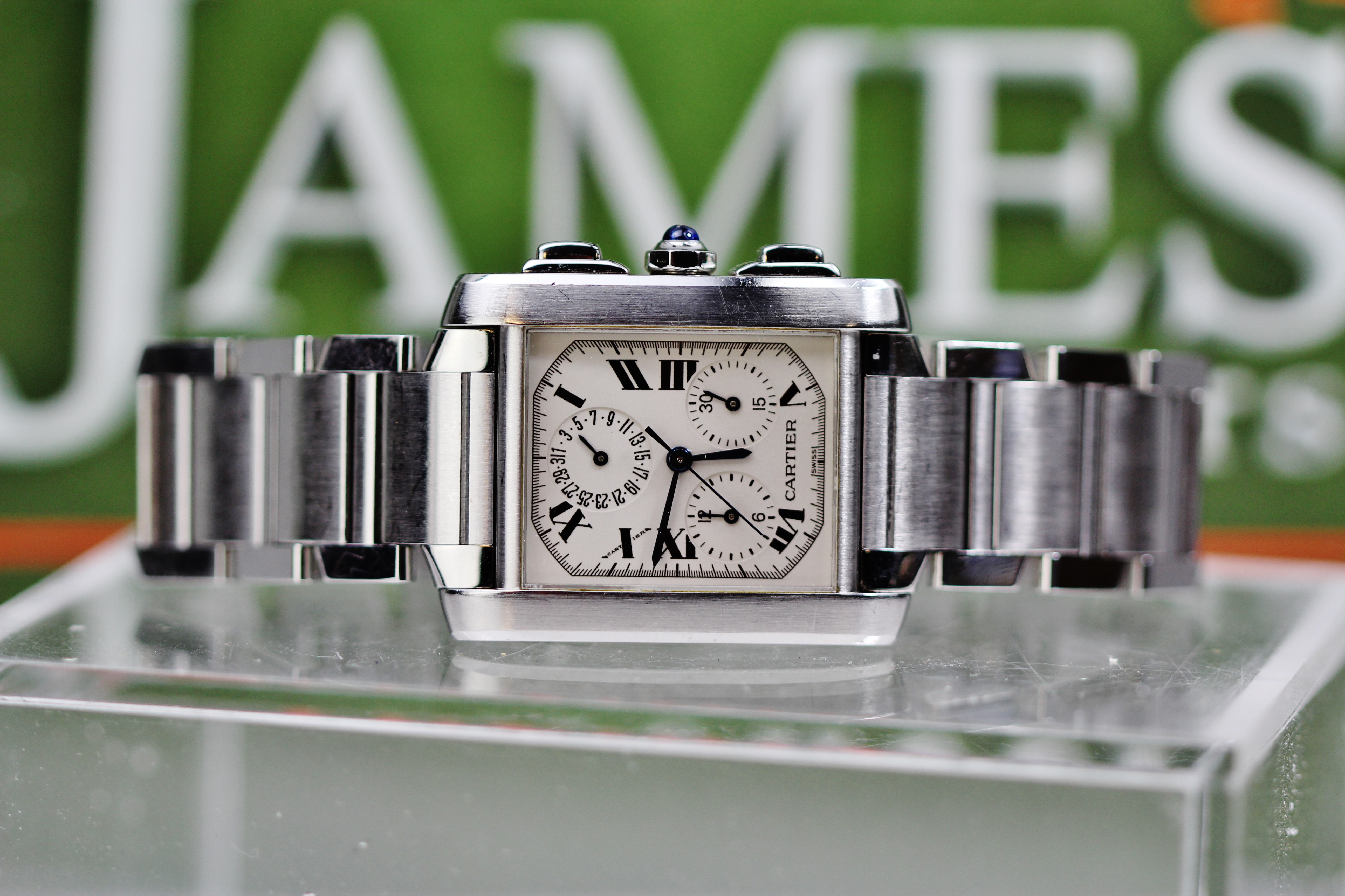 Lot 16 - Cartier Tank Francaise Chronoflex Chronograph