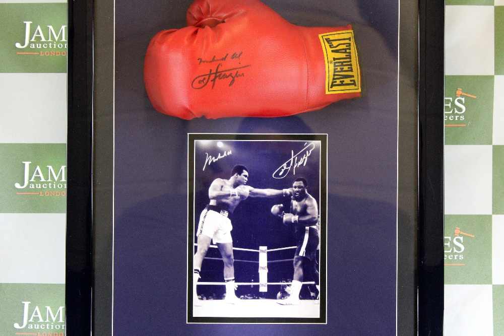 Lot 58 - Muhammad Ali & Joe Frazier Signed Glove Montage Display
