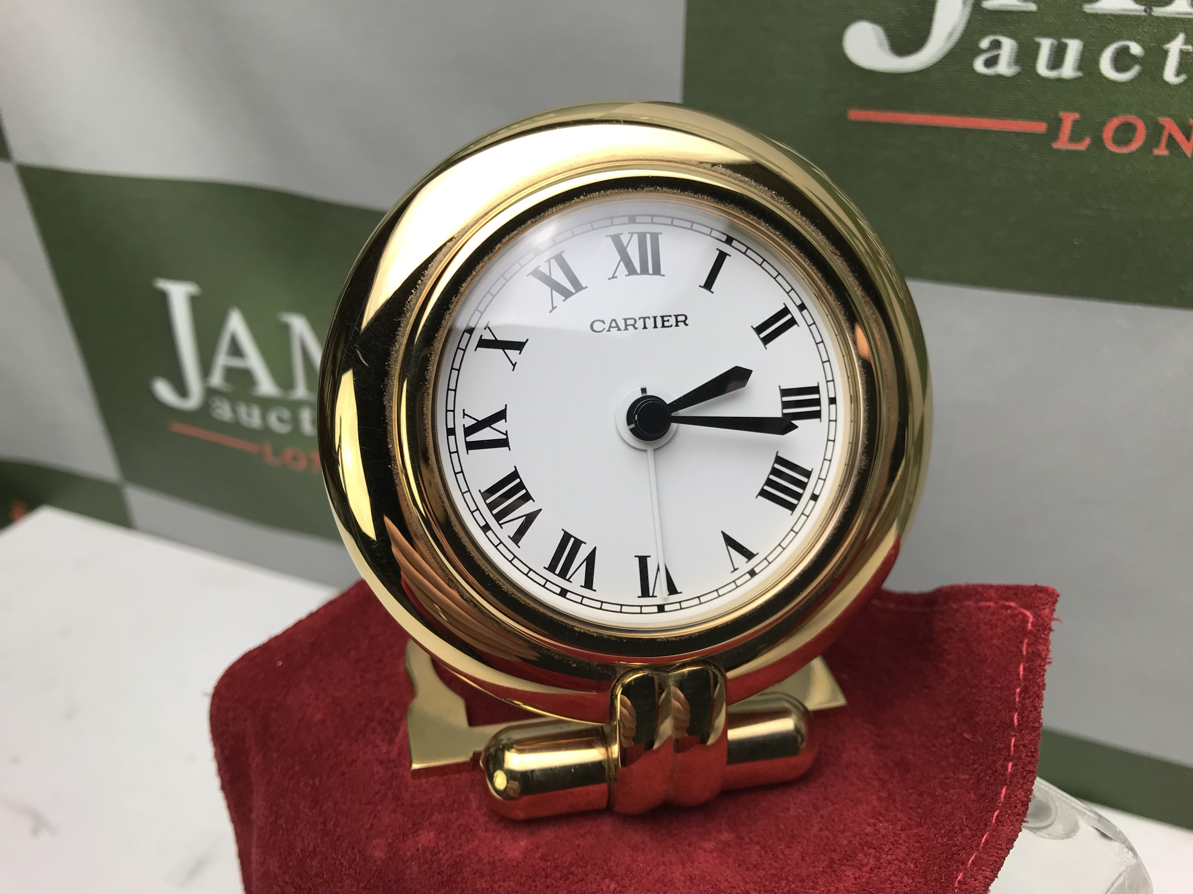 Lot 22 - Cartier Rivoli Gold Plated Large Travel Clock