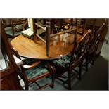 SHAW OF LONDON, DINING ROOM SUITE, COMPRISING; BREAKFRONT SIDEBOARD, DINING TABLE, on twin