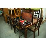 "A 'RILEY' MAHOGANY BILLIARDS/DINING TABLE, WITH SLATE BED, 6'6"" X 3'6"", SNOOKER CUES AND REST, A"