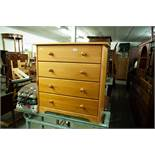 "MODERN PINE CHEST OF FOUR LONG DRAWERS WITH WOODEN KNOB HANDLES, 2'7"" WIDE"