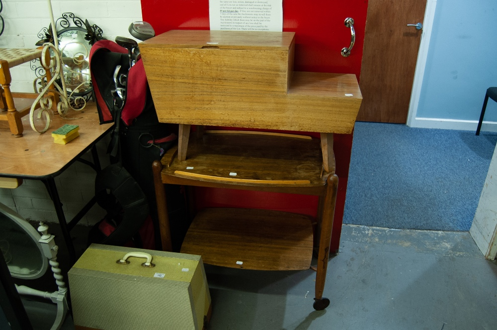 Lot 15 - TEAK TWO TIER TEA TROLLEY WITH LIFT-OFF TRAY TOP AND A TEAK LOW STEP TOP WORKBOX/TELEPHONE STAND