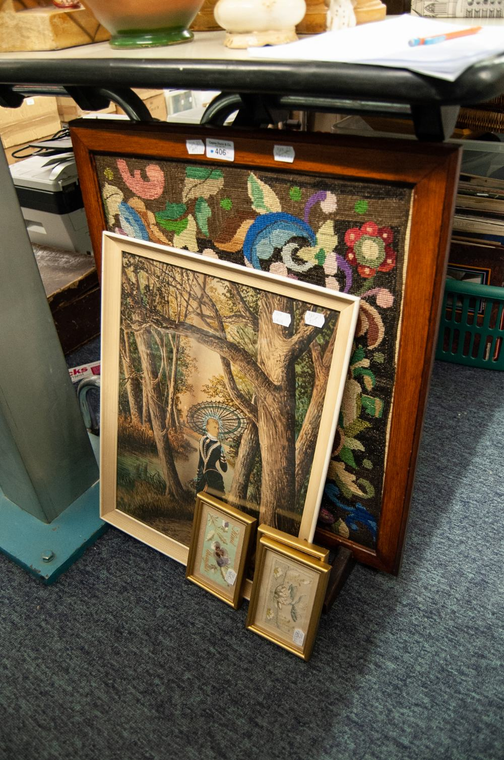 Lot 406 - OAK FRAMED FIRE SCREEN WITH FLORAL WOOLWORK CENTRE, together with a VICTORIAN WATERCOLOUR AND