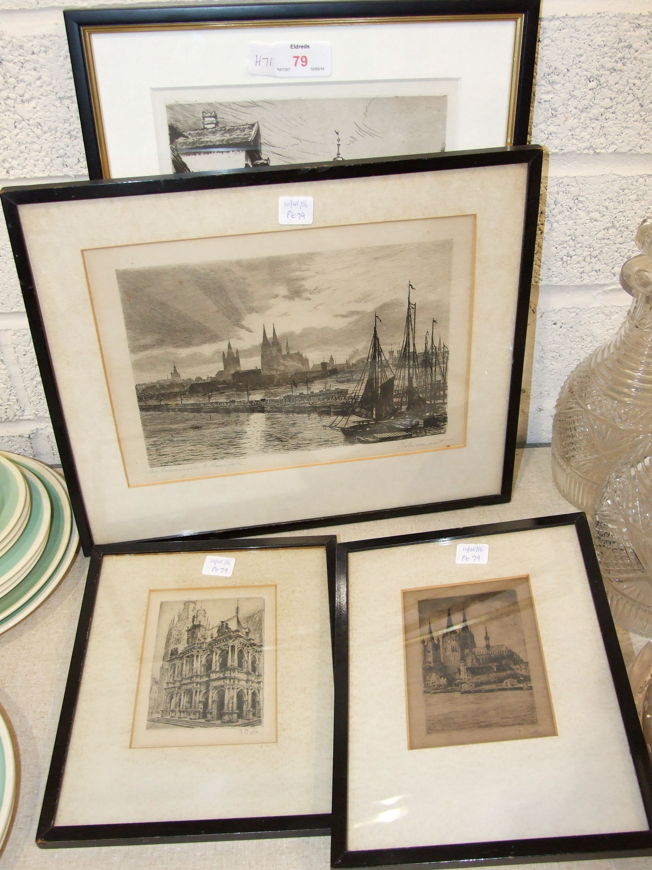 Lot 29 - After Labo......., 'Henkersteg in Nurnberg', a framed etching, indistinctly signed in margin, 36 x