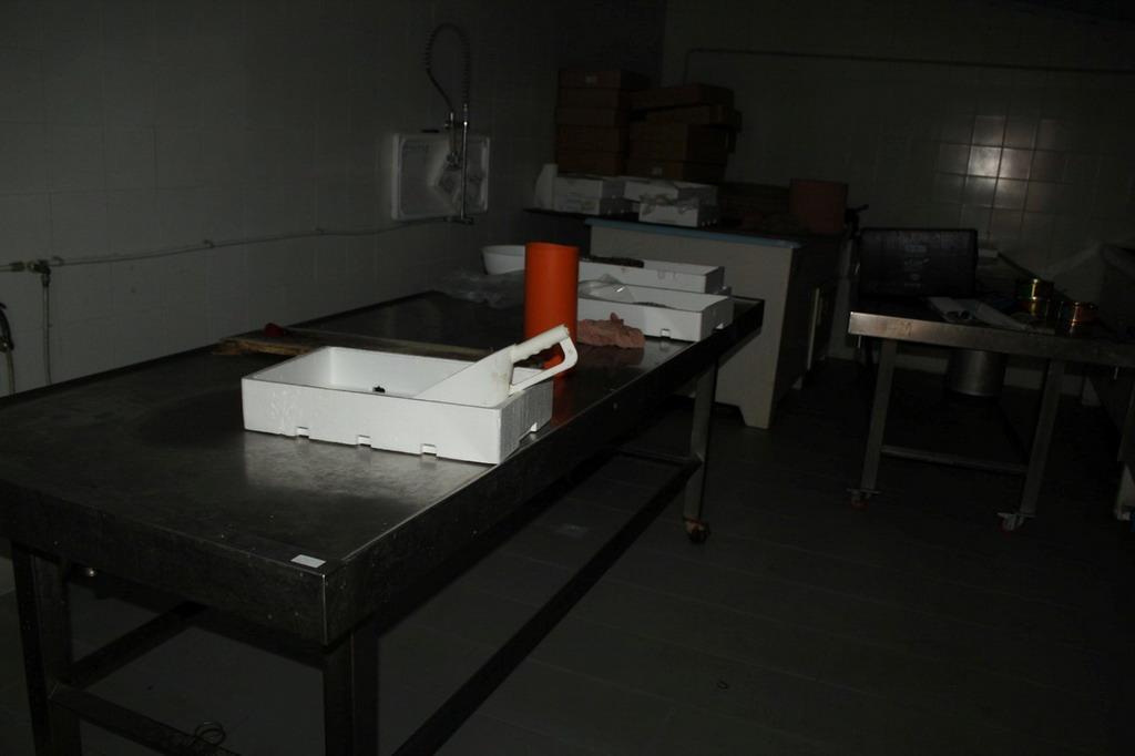 Lot 102 - N. 25 (716 IVG FALLIMENTO) TAVOLO IN ACCIAIO CON RUOTE
