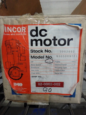 Lot 41 - Fincore 1/2 HP DC Motor, M/N 9305009TFI, (New in Box) (Asset Location: Warehouse), (Site Location: