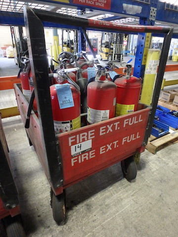 Lot 14 - Full Fire Extinguisher Cart, 48 in. x 30 in., Containing (16) Assorted Fire Extinguishers (Asset