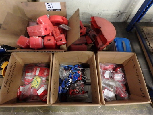 Lot 31 - Pallet of Lock-out/Tag-out Supplies Consisting of: Assorted Tags, Locks, Covers, (New and Used) (