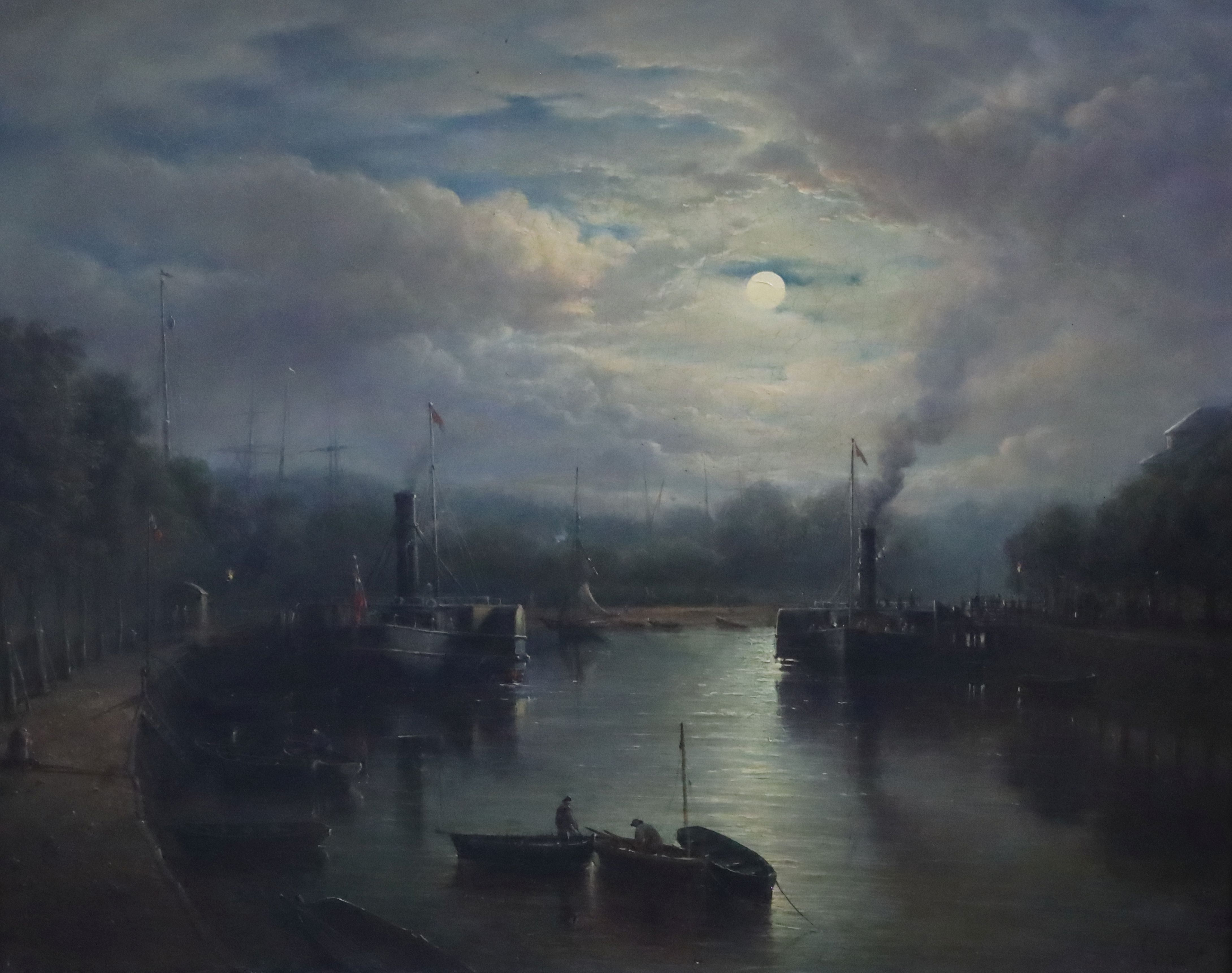 Lot 592 - John Moore of Ipswich (1820-1902)oil on wooden panelLanding Stage, New Cutsigned, label verso,16 x