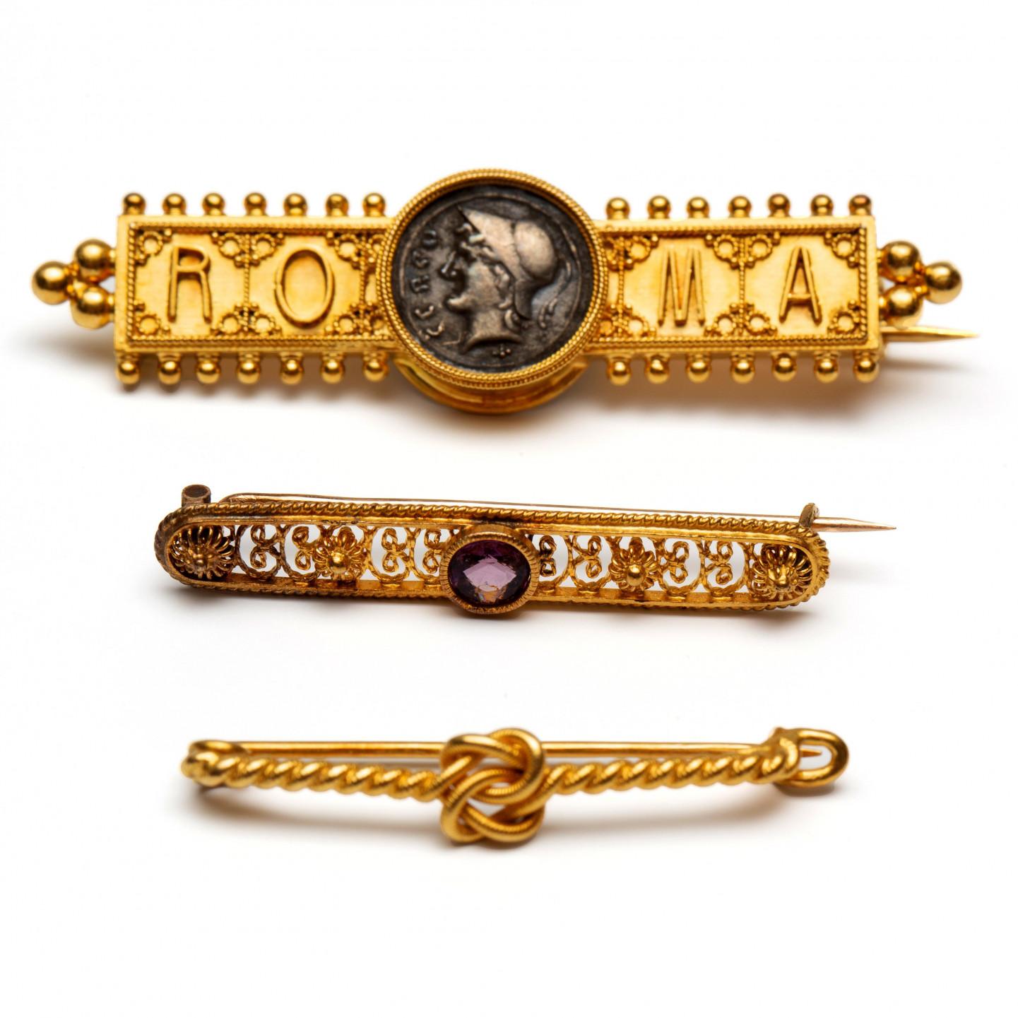 Drie differente staafbroche, 19e/begin 20e eeuw,