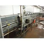 15ft S.S. Table Top Conveyor, 4 1/2in belt, w/ 12ft rinser inverter, (Nercon) 12ft x 22in x 36in