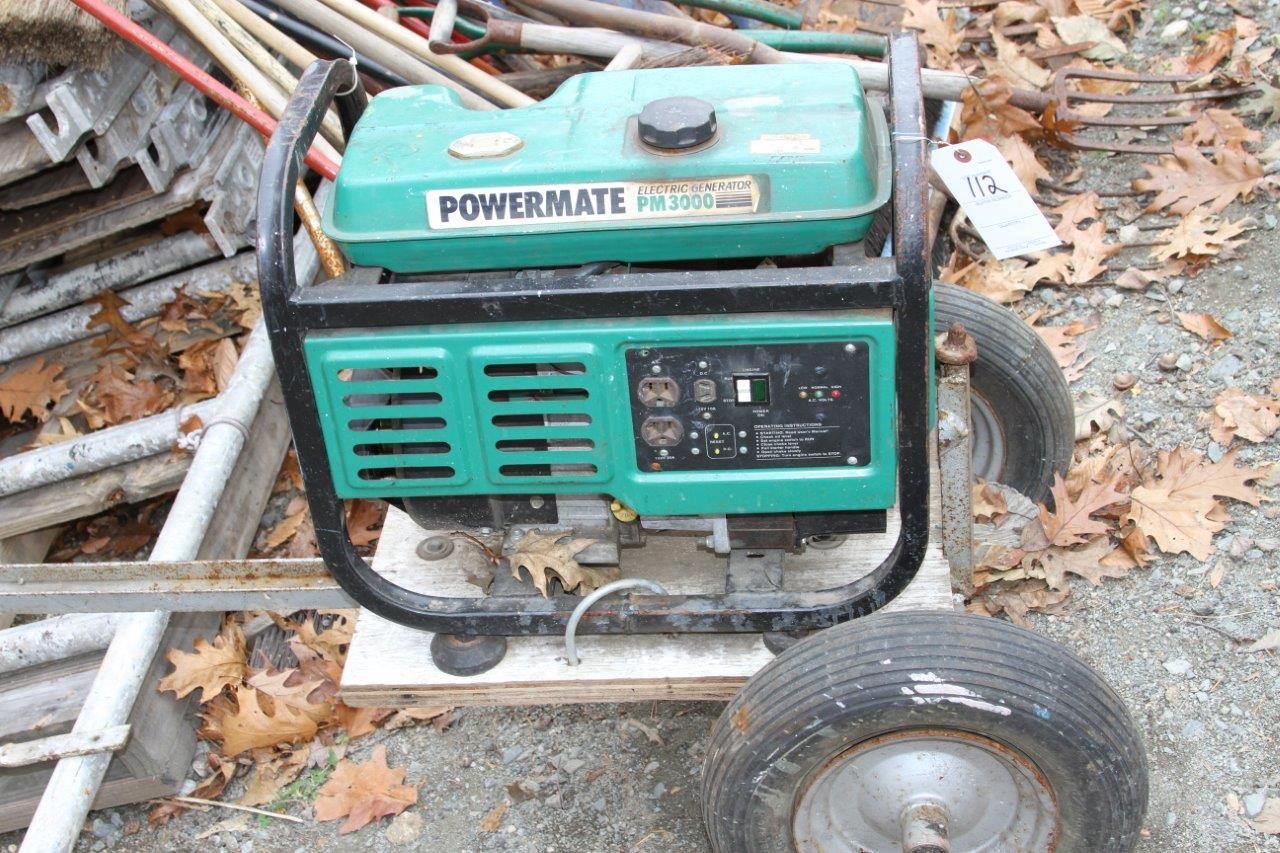 Lot 112 - Powermate PM3000 Gas Generator on Cart
