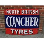Large North British Clincher Tyres Vintage Enamel Sign