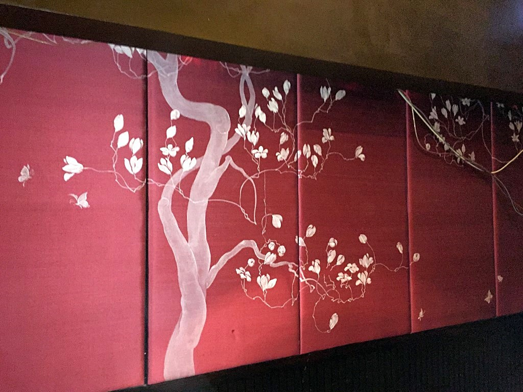 7 X Padded Silk Oriental Themed Wall Panels In Deep Red