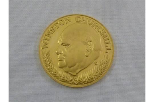 Winston Churchill Gold Medallion In Memoriam 1874 1965 Stamped 900