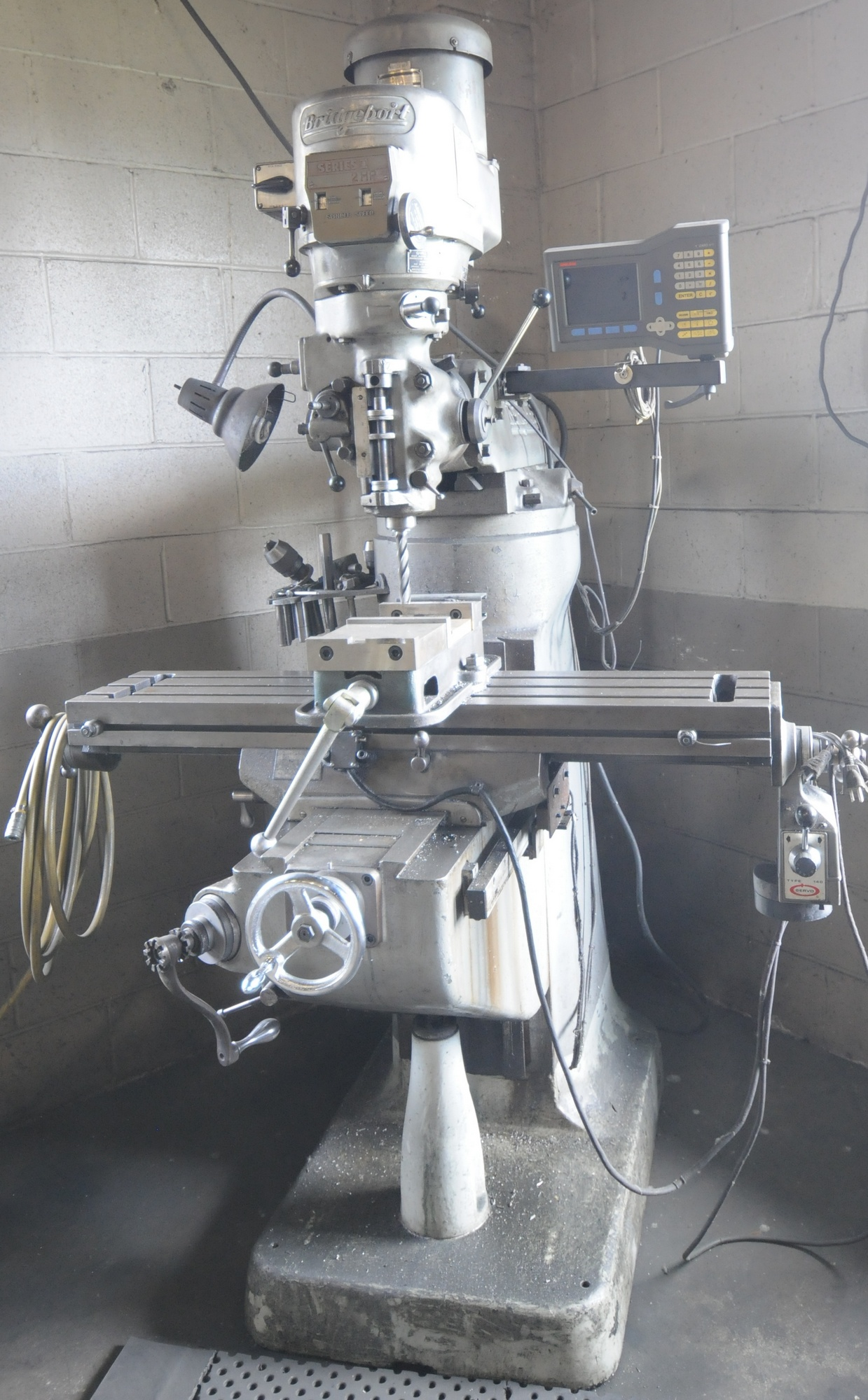 """Lot 22 - BRIDGEPORT SERIES I VERTICAL MILLING MACHINE WITH ANALIM 2 AXIS DRO, 42""""X9"""" TABLE, SPEEDS TO 4200"""