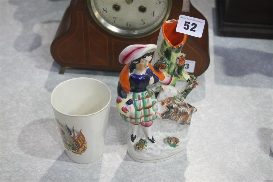 Lot 52 - Staffordshire flat back and a beaker