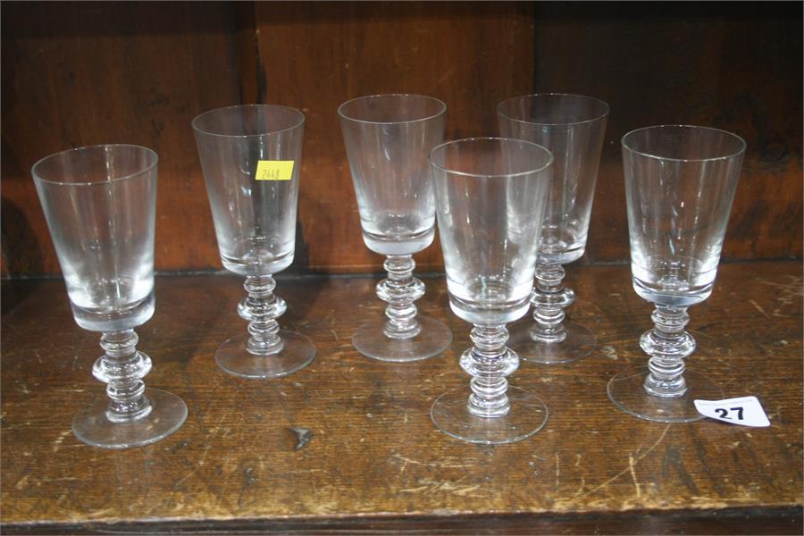 Lot 27 - Six knop stem liqueur glasses