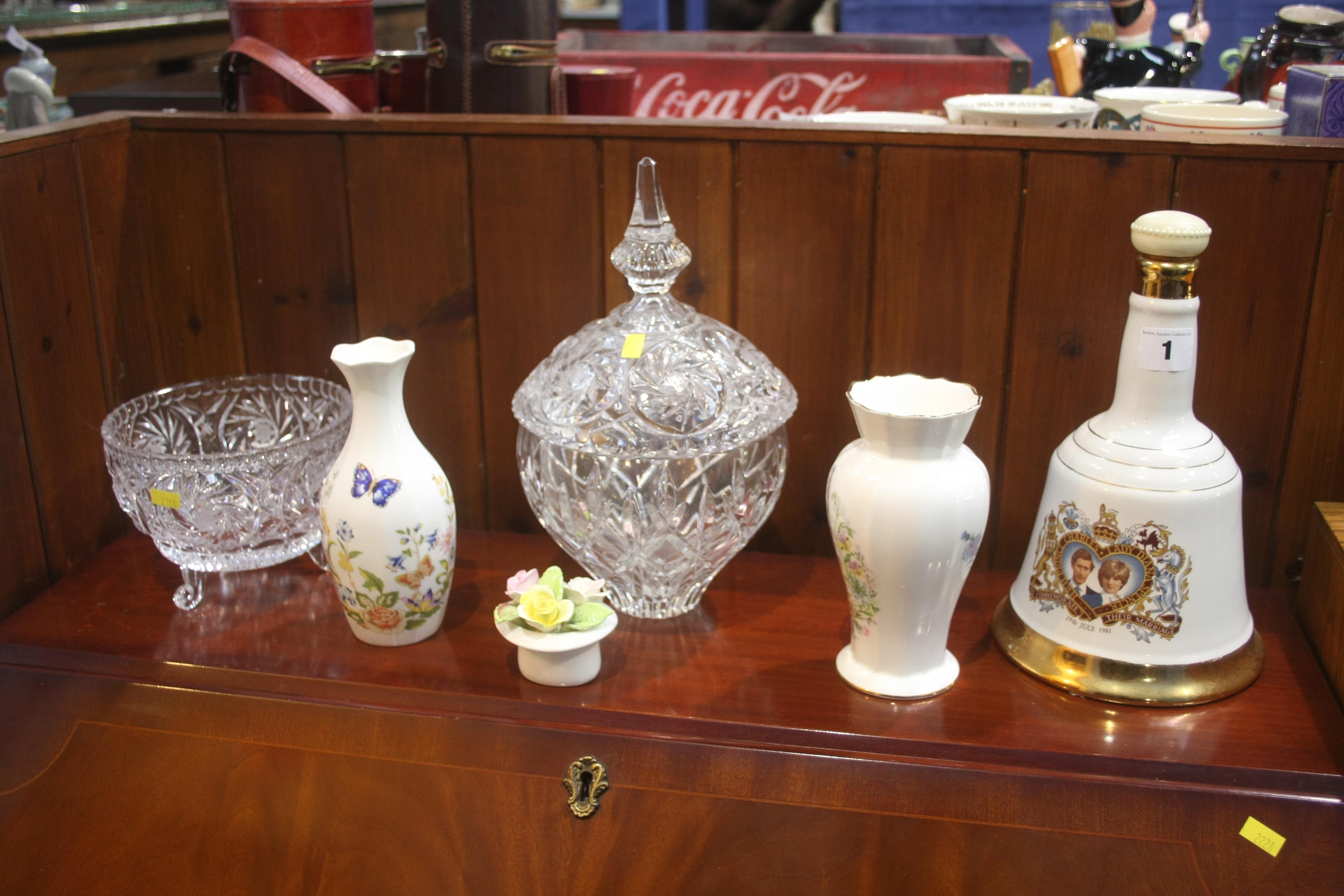 Lot 1 - Aynsley vases, Wade decanter