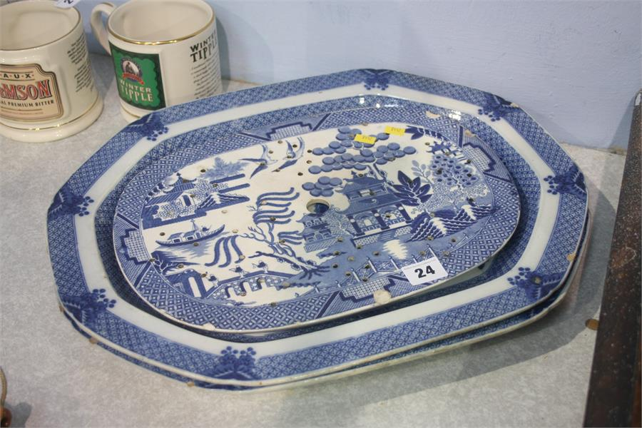 Lot 24 - Two meat plates and a strainer