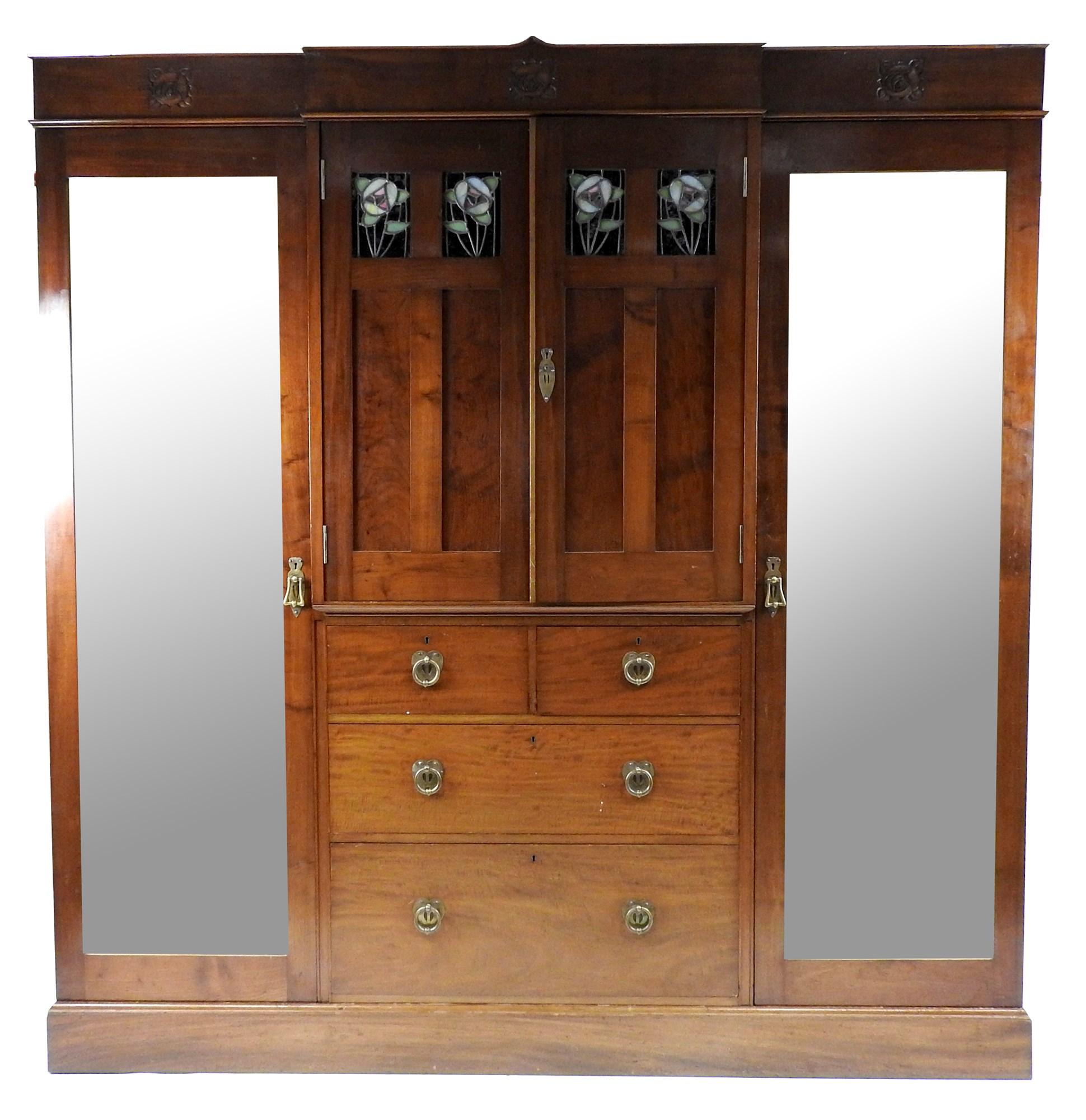 Lot 167 - A Glasgow School Arts and Crafts mahogany bedroom suite