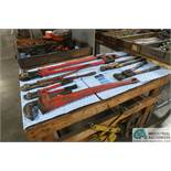 (LOT) PIPE WRENCH, BOLT CUTTERS, CRIMPERS, PIPE CUTTERS AND PALLET PULLERS
