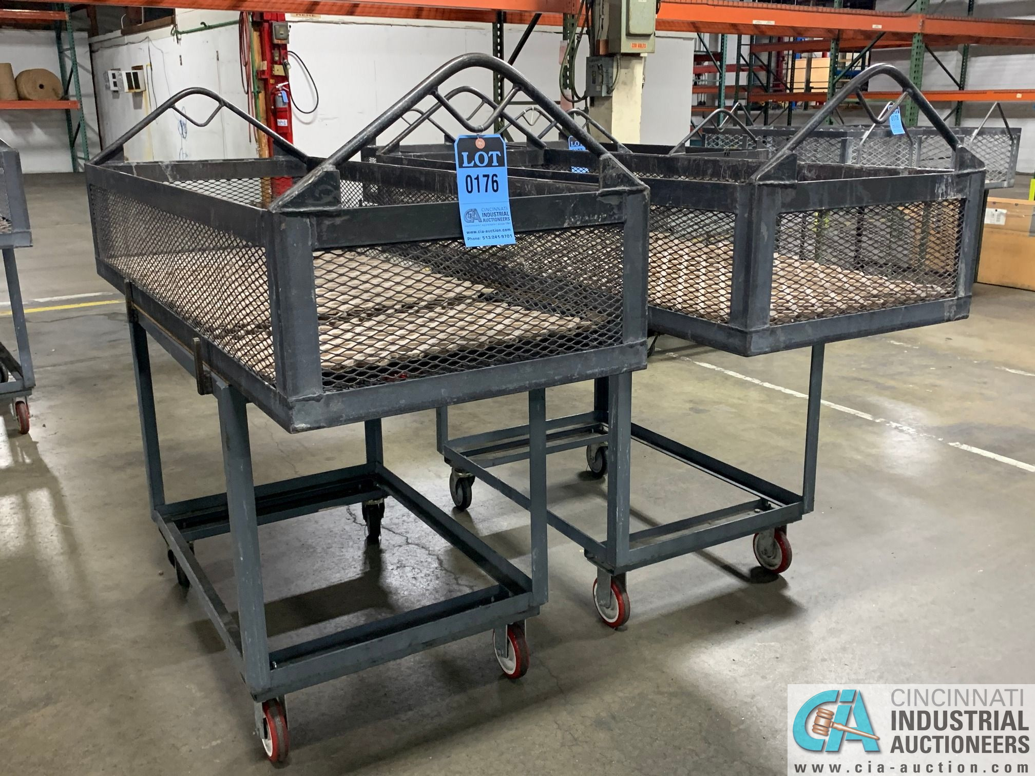 """66"""" X 24"""" X 12"""" DEEP STEEL BASKETS WITH CARTS - Image 2 of 2"""