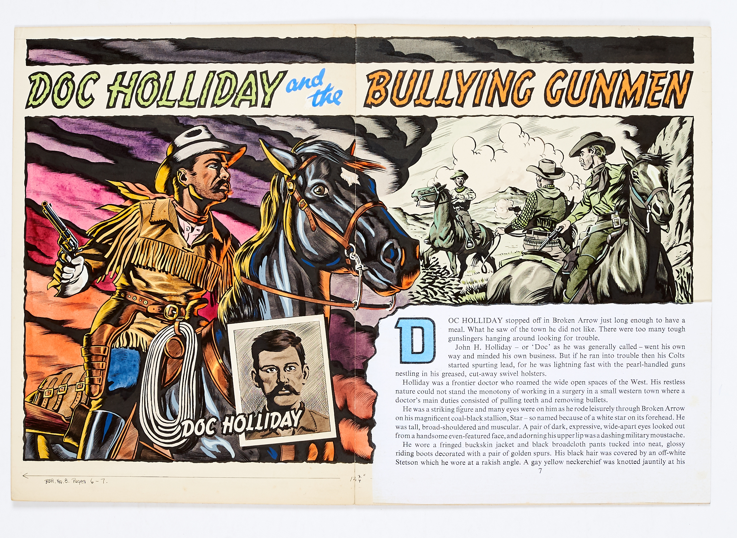 Lot 43 - Doc Holliday and the Bullying Gunmen original artwork (1956) drawn and painted by Denis McLoughlin