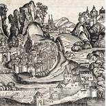 Ungarn.Ungarn. Phantasieansicht. Holzschnitt auf d. ganzen Textbl. aus der lat. Ausg. vUnga