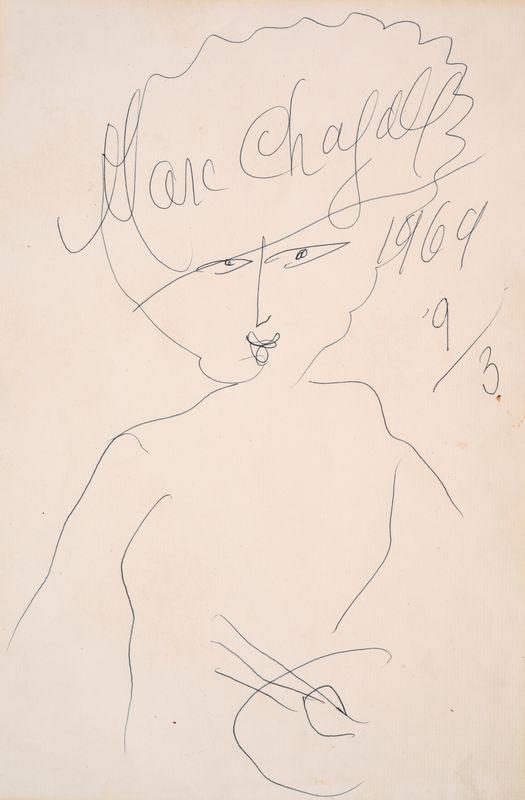 Lot 21 - Marc CHAGALL (1887- 1985) - Autoportrait à la palette - Dessin signé en haut au [...]
