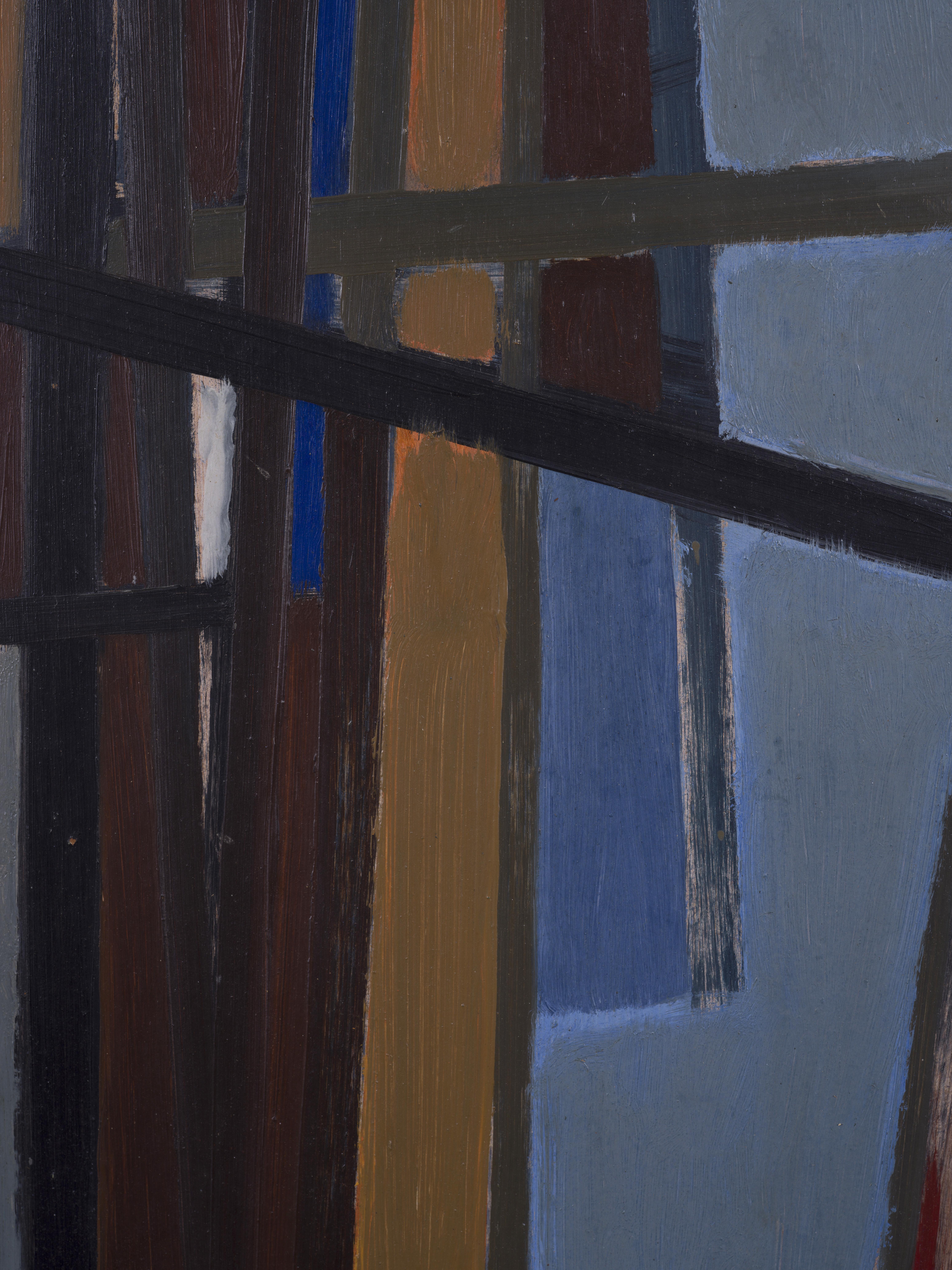 """Lot 23 - Helge ERNST (1916-1991) - Composition - Huile sur panneau - Monogrammée """"HE"""" en bas [...]"""