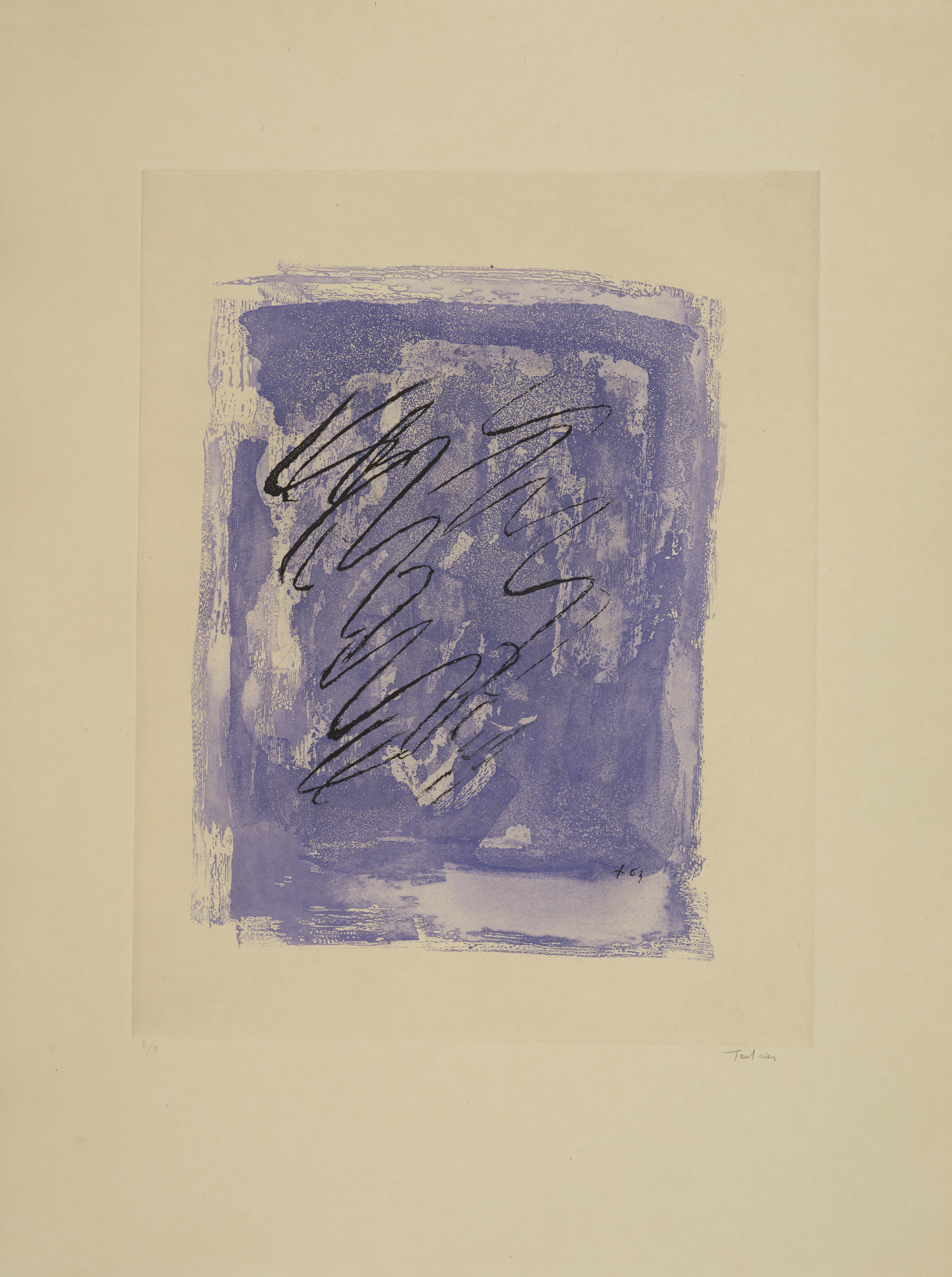 Lot 5 - Jean FAUTRIER (1898-1964) - Griffure sur fond violet - Eau forte aquatinte et lavis [...]