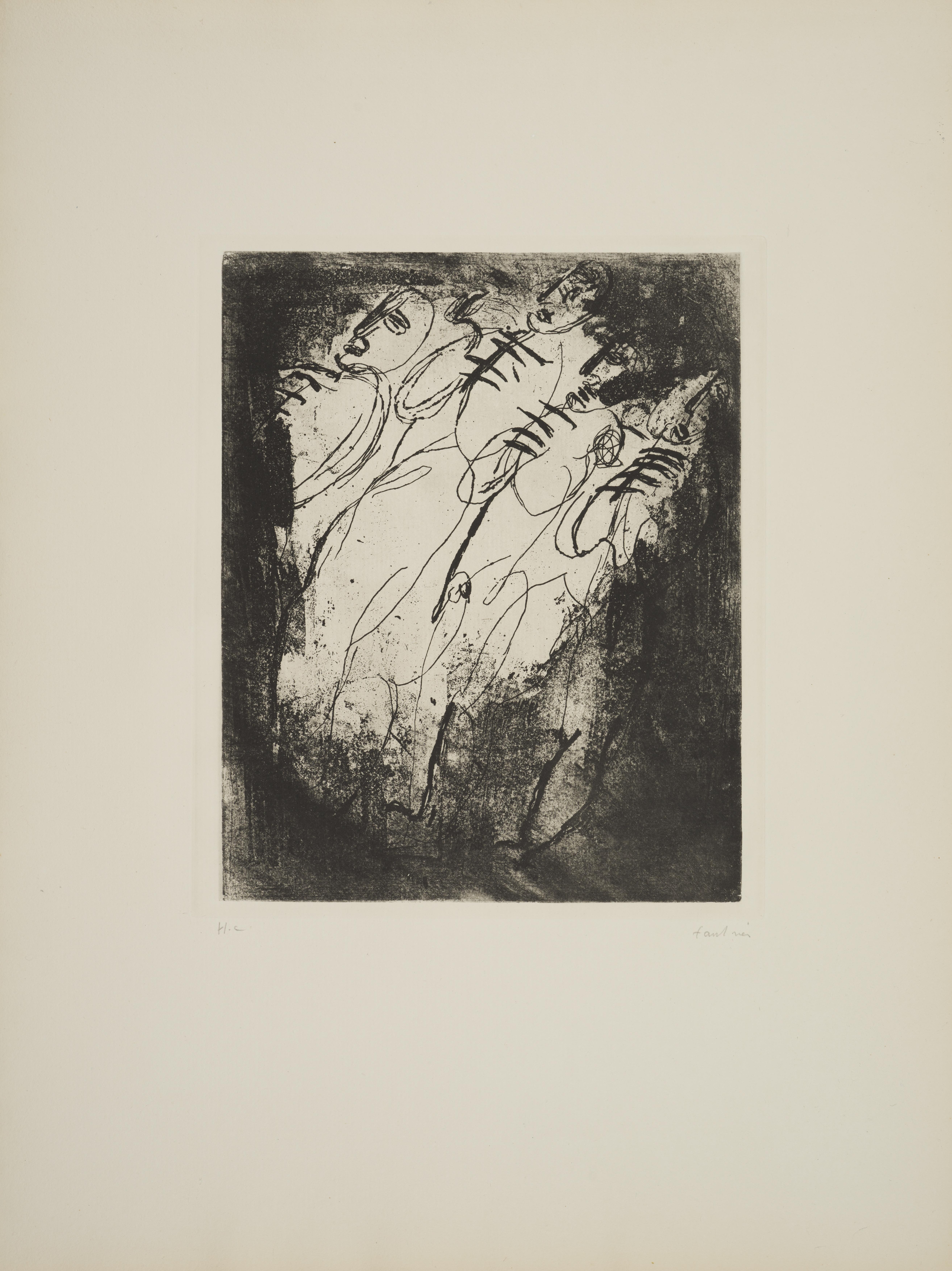 Lot 10 - Jean FAUTRIER (1898-1964) - Les fusillés, 1943 - Héliogravure et eau-forte sur [...]