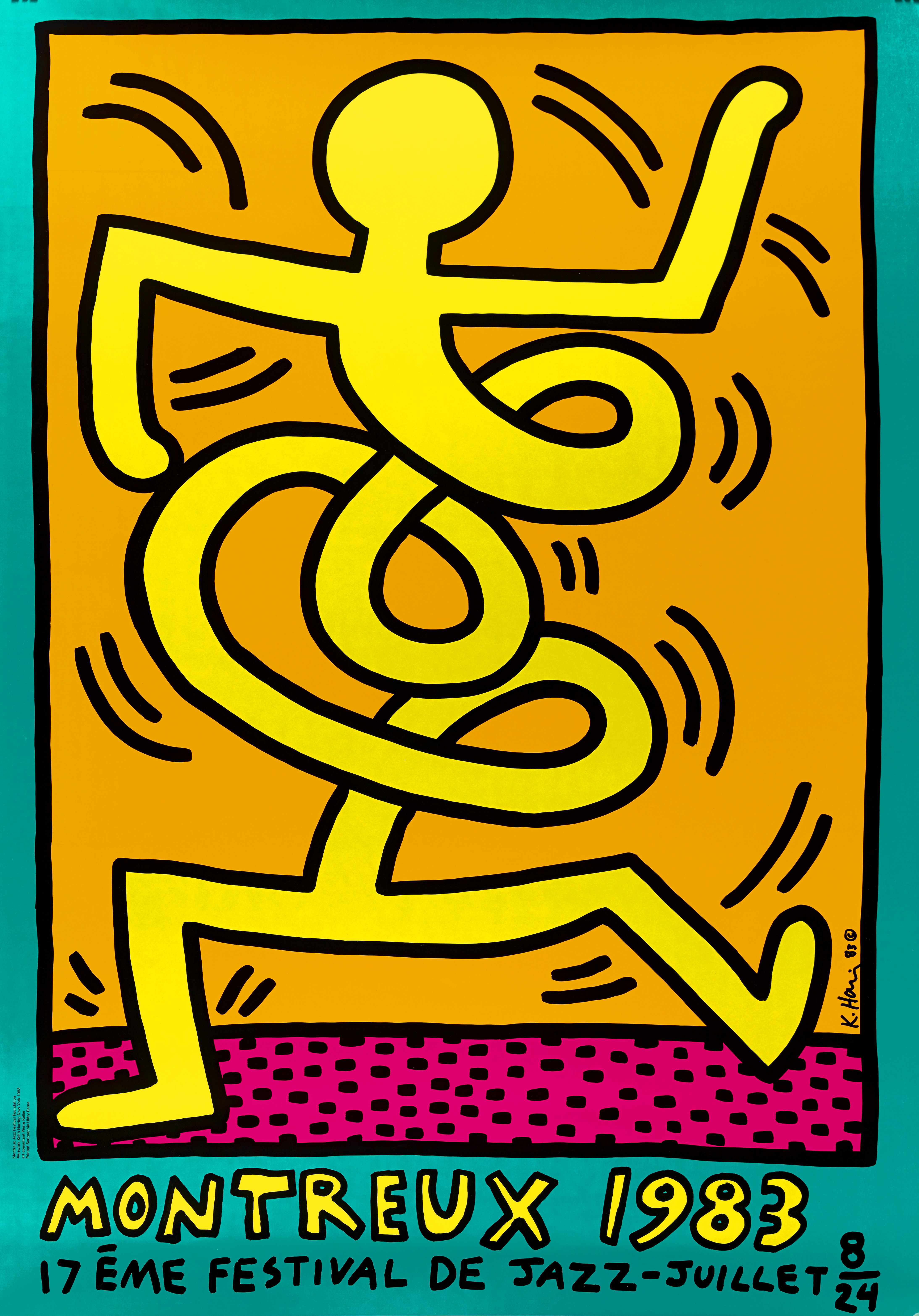 Lot 13 - Keith HARING (1958-1990) - Montreux Jazz Festival - Affiche sérigraphique - 99 x 69 [...]