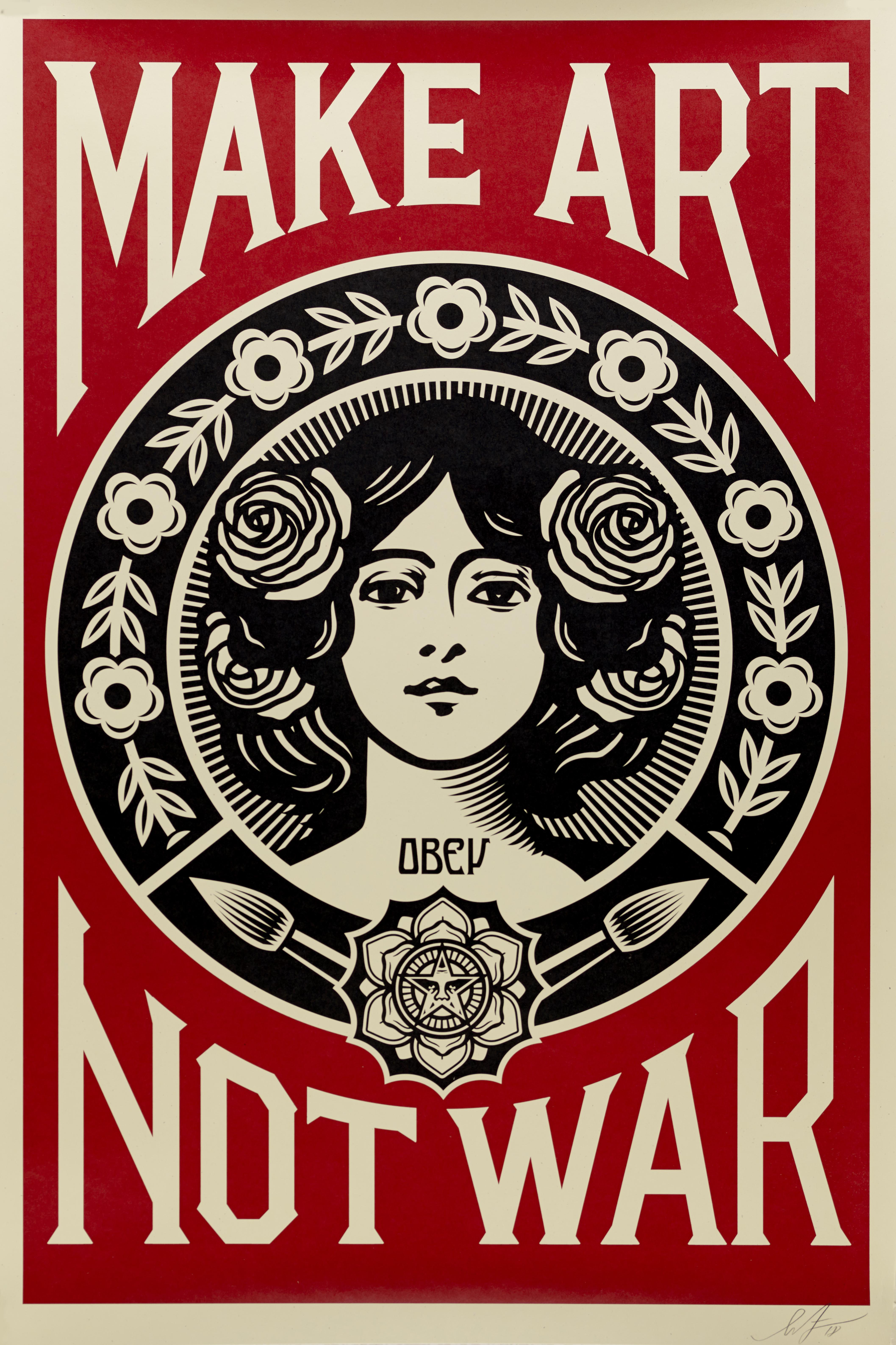Lot 11 - Shepard FAIREY dit OBEY (1970) - Make Art Not War - Affiche sérigraphique signée au [...]