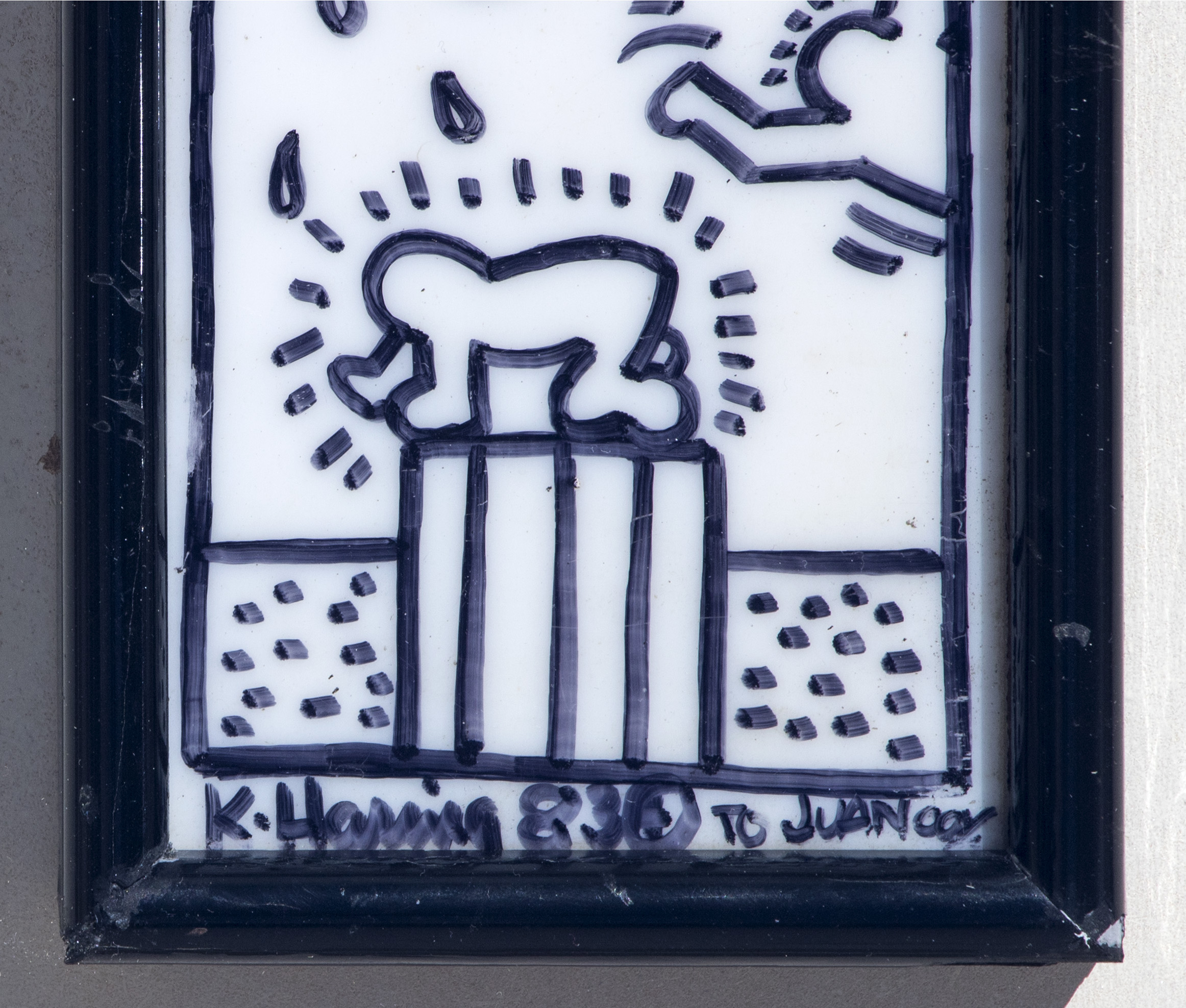 Lot 18 - Keith HARING (1958-1990) - Eros and Baby, 1983 - Marker sur plaque opaline - Signé [...]