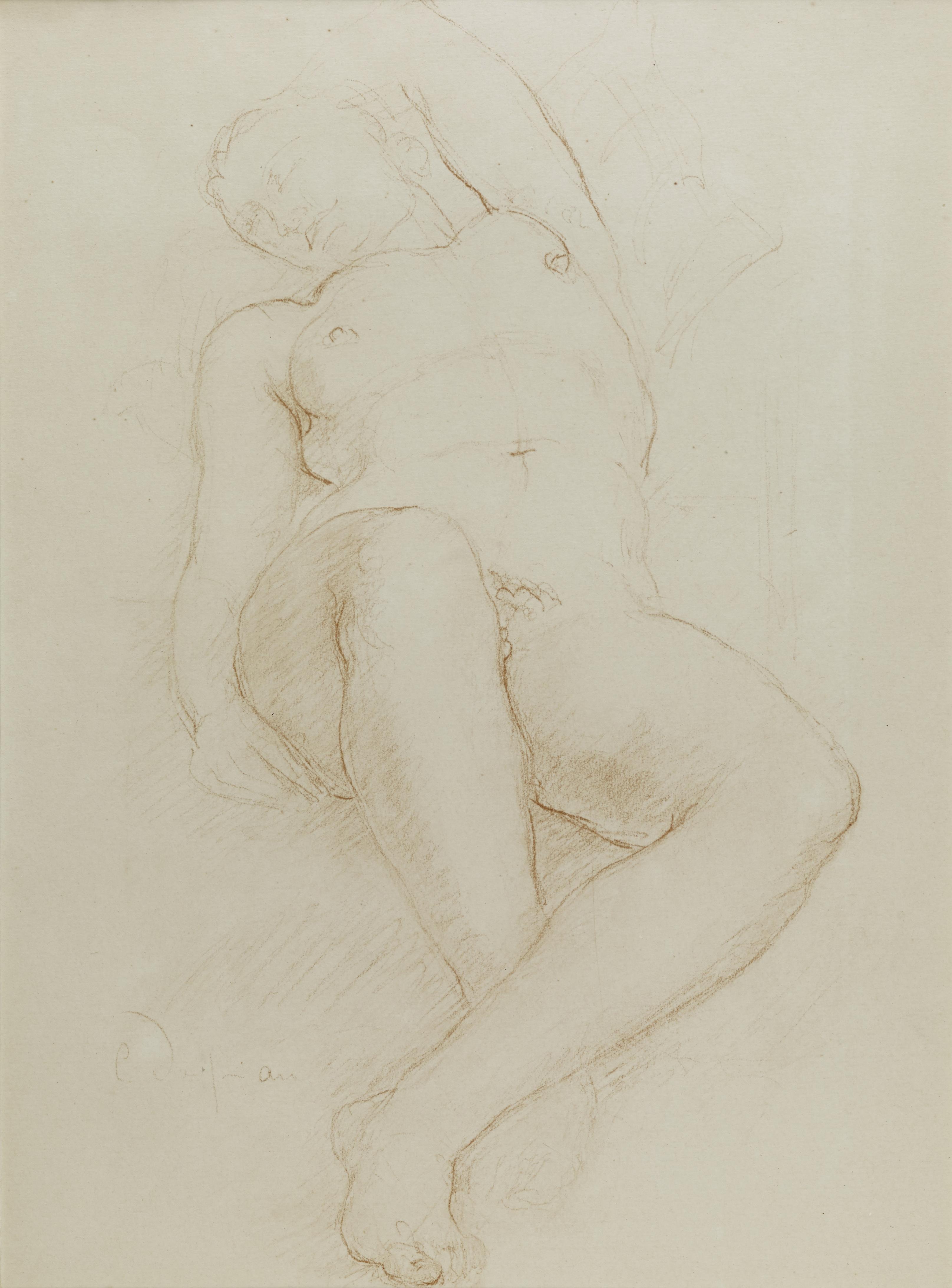 Lot 36 - Charles DESPIAU (1874-1946) - Femme allongée bras gauche relevé - Dessin à la [...]