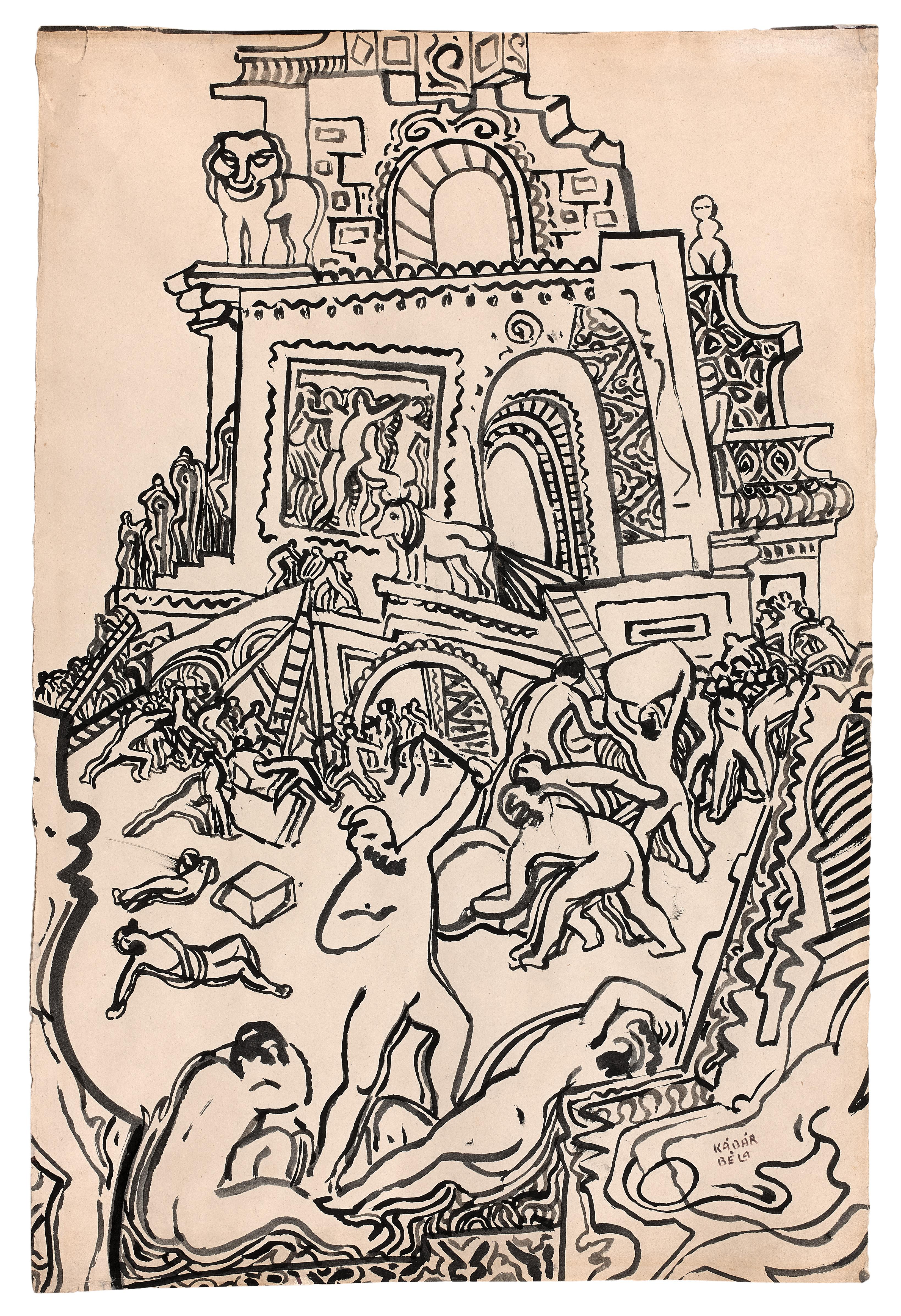 Lot 20 - Béla KADAR (1877-1956) - Composition - Encre signée en bas vers la droite - 64 x 43 [...]