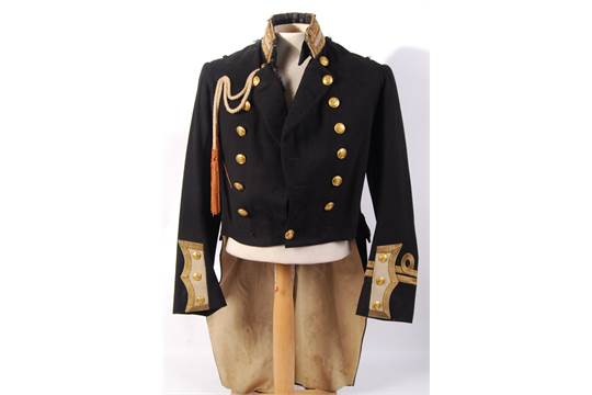 An antique 19th century Victorian Royal Naval officers uniform