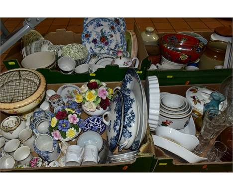 FIVE BOXES OF CERAMICS AND GLASS, to include Royal Albert/Paragon 'Country Lane' teawares (four cups, nine saucers, eight sid