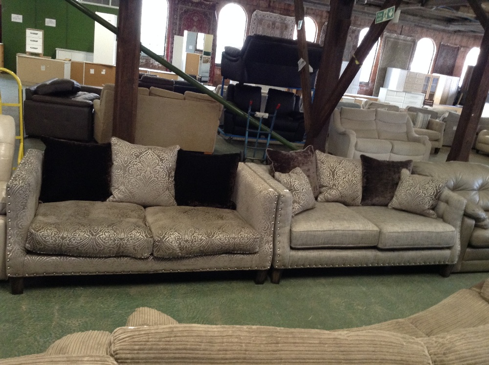 Grey studded large 2 seater sofa and grey and silver for Sofa with studs