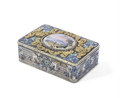 A rare Charles Bruguier silver, parcel gilt and champlevé-enamel fusee singing bird box, Swiss, circa 1840,Signed Charles Bru