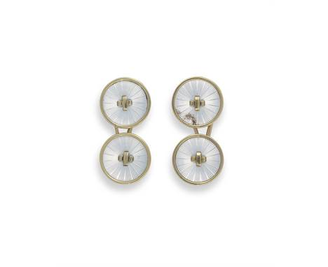 A pair of gold and guilloché enamel cufflinksbearing marks for Faberge, Moscow, 1899-1908each circular terminal enamelled tra