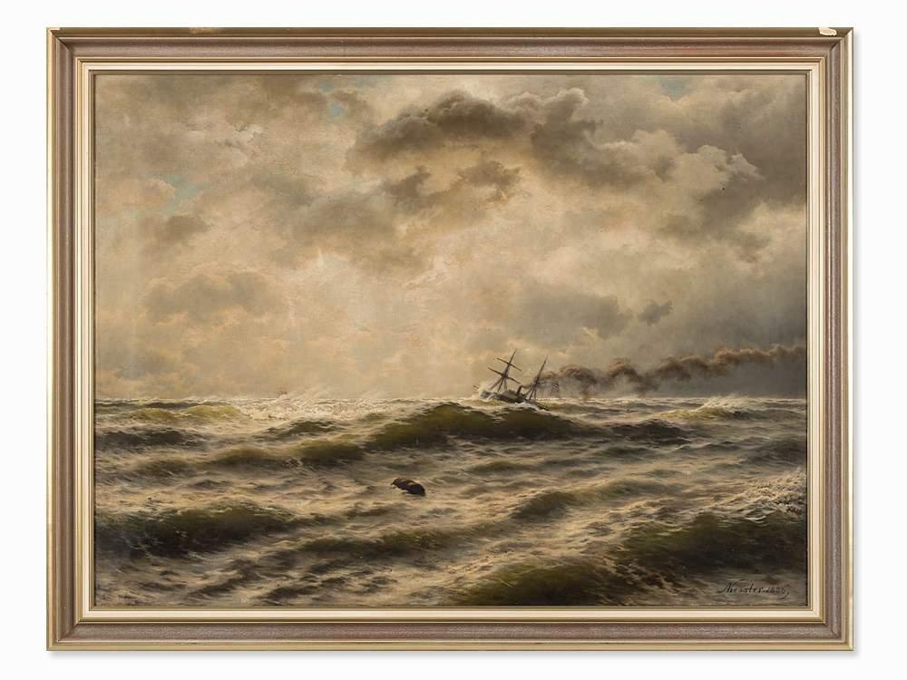 Friedrich August Kessler (1826-1906), Seascape, Painting, 1886 Oil ...