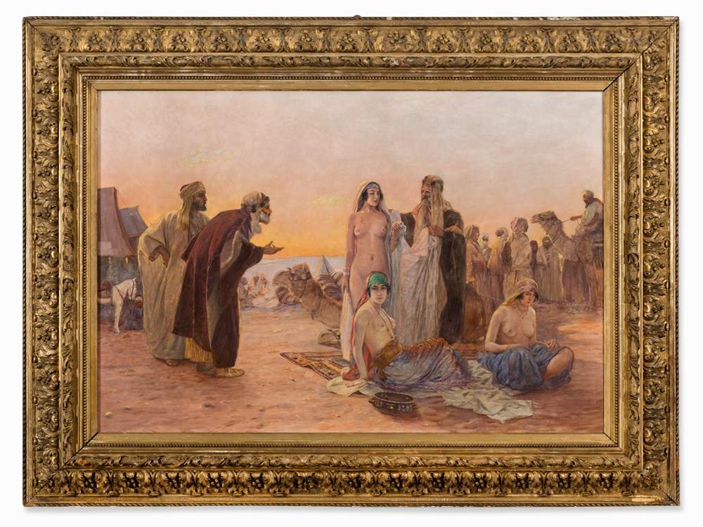 Otto Pilny (1866-1936), Slave Market in the Sahara, 19th C. Oil on ...
