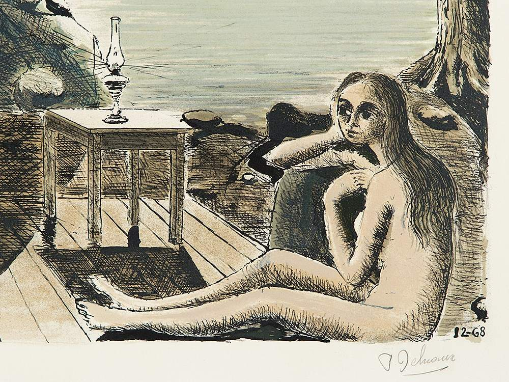 Paul delvaux le bout du monde color lithograph for Paul delvaux le miroir